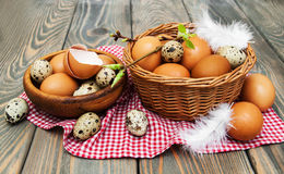 Different types of eggs in a basket Royalty Free Stock Photography