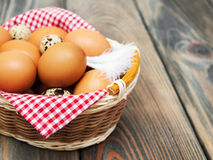 Different types of eggs in a basket Stock Image