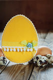 Different types of eggs and  easter card  on  wooden background, Royalty Free Stock Photos