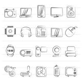 Different types of electronics icons. Vector icon set royalty free illustration