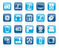 Different types of electronics icons. Vector icon set stock illustration