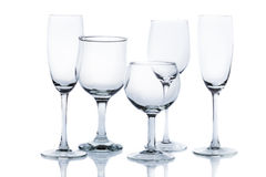 Different types of empty glasses Stock Photos
