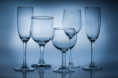 Different types of empty glasses Stock Image
