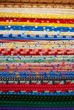 Different types of fabrics Stock Photos