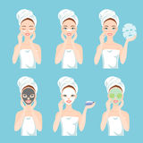 Different types of facial masks for skin care and treatment. Clay, charcoal, for nose, eyes, paper, sheet and fresh masks. Different types of facial masks for Stock Images