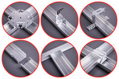 Different types of fasteners for drywall Stock Photos