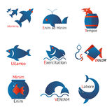 Different types of fish in minimalist design Stock Photo