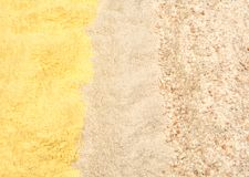 Different types of flour, corn, buckwheat and whole wheat royalty free stock photo