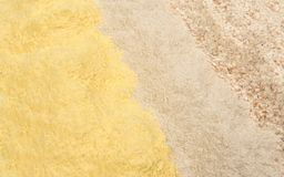 Different types of flour, corn, buckwheat and whole wheat royalty free stock photos