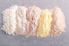 Different types of flour. Over grey background stock photos