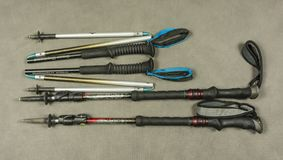 Different types of folding and blocking trekking poles from the manufacturer Black Diamond. Stock Photo