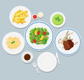Different types of food on blue background Royalty Free Stock Photo