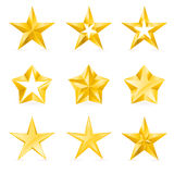 Different types and forms of gold stars Stock Image