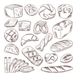 Different types of fresh bread. Vector hand drawn illustrations of bakery foods royalty free illustration