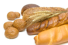 Different types of fresh bread on a white background Royalty Free Stock Photo