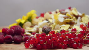 Different types of fresh and dried fruit, rotating stock video footage