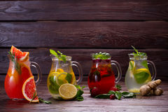 Different types of fresh lemonades. Stock Photo