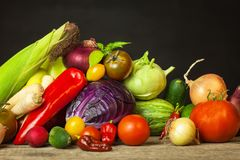 Different types of fresh vegetables on a wooden table. Harvesting vegetables on a farm. Healthy food. Different types of fresh vegetables on a wooden table Royalty Free Stock Photos