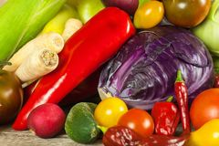 Different types of fresh vegetables on a wooden table. Harvesting vegetables on a farm. Healthy food. Different types of fresh vegetables on a wooden table Stock Image