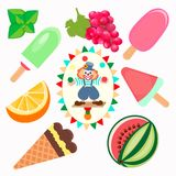 Different types of fruit ice cream with a picture of a juggling Royalty Free Stock Image
