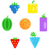 Different types of fruits as simple shapes and in colors of rainbow Royalty Free Stock Image