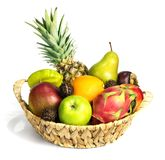 Set of different exotic fruits. Different types of fruits in baskets. such as apples, orange, mango, mangosteen, carambola, pitahaya, rambutan, pineapple and royalty free stock photo