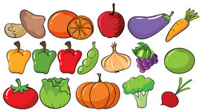 Different types of fruits and vegetables stock illustration