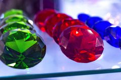 Different types of gems stones in the showcase of the shop in Barcelona, Catalonia, Spain. 2019-05-01.  royalty free stock photos