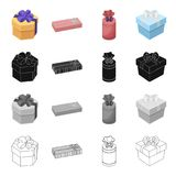 Different types of gift wrapping. Ribbon, bow and packing set collection icons in cartoon black monochrome outline style Royalty Free Stock Image