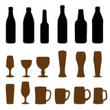 Different types of glasses and bottles. For drinking Royalty Free Stock Image