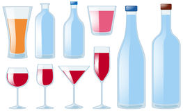 Different types of glasses and bottles vector illustration