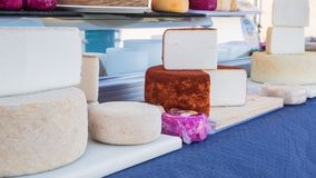 Different types of goat cheese in the market of Teguise in Lanzarote stock photography