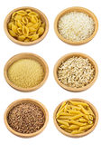 Different types of grains and pasta Royalty Free Stock Photo