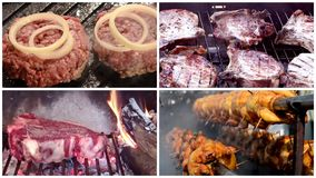 Different types of grilled meat, composition. Meat collage including burgers, grilled chicken, pork chops and florentine style steak stock footage