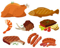 Different types of grilled meat. Illustration Stock Photos