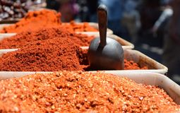 Traditional ground spices in the Israeli market royalty free stock photography