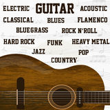 Different types of guitar music background Stock Images