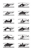 Different types of helicopters Royalty Free Stock Photos