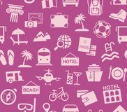 Travel, vacation, tourism, vacation, seamless pattern, purple, color, vector. Different types of holidays and ways of travelling. Pink pictures on the purple Royalty Free Stock Photo