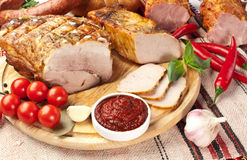 Different types of home-made pork. Stock Images