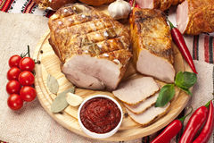 Different types of home-made pork. Royalty Free Stock Photography