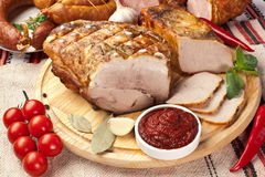 Different types of home-made pork. Stock Photos