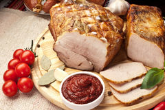 Different types of home-made pork. Royalty Free Stock Photo