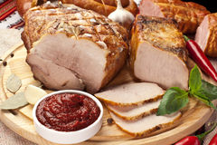 Different types of home-made pork. Stock Image