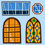 Different types house windows elements flat style frames construction decoration apartment vector illustration. Royalty Free Stock Photos