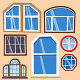 Different types house windows elements flat style frames construction decoration apartment vector illustration. Stock Image
