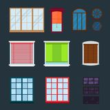 house windows types different types house windows elements flat style glass frames royalty free illustration house windows elements flat style glass frames construction stock