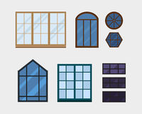different types house windows elements isolated set flat style frames domestic door double construction and contemporary