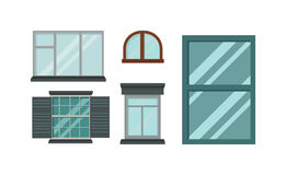 Different types house windows vector elements isolated on white background. Stock Images