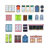 Different types house windows vector elements isolated on white background. Stock Photos